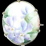 Vintage Brooch Miniature Porcelain Painting
