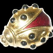 Vintage Brooch Ladybug Enameled
