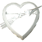 Vintage Sterling Heart Brooch