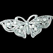 Vintage Brooch Butterfly Rhinestones