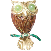 Vintage Owl Brooch Enamel Work by Creed