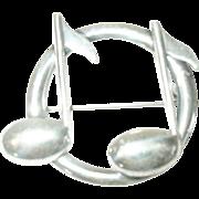 Vintage Sterling Brooch Music Note by Beau
