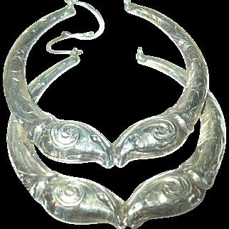 Vintage Earrings Sterling Hoops
