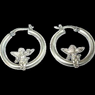 Vintage Earrings Sterling Hoops Angels