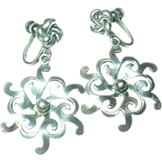 Vintage Earrings Sterling Drops Snowflake Design
