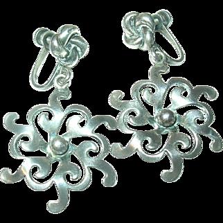 Vintage Earrings Sterling Drops Snowflake Design