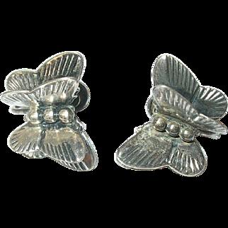 Vintage Sterling Butterfly Earrings by Michele