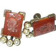 Vintage Earrings Carnelian Intaglio