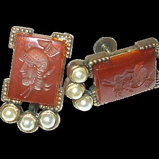 Vintage Earrings Carnelian Intaglio