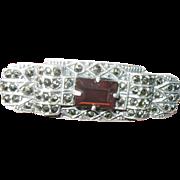 Vintage Brooch Sterling Marcasite Garnet