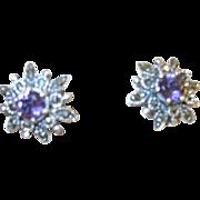 Vintage Earrings Sterling Marcasite & Amethyst