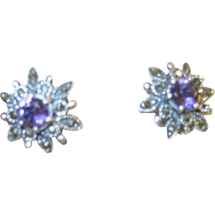 Vintage Earrings Sterling Marcasite & Amethyst