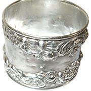 Sterling Napkin Ring Raised Design 1870's - Red Tag Sale Item