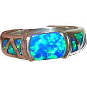 Vintage Ring Sterling Double Opal