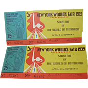 New York World's Fair 1939 - Tickets Two