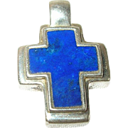 Vintage Pendant Sterling Blue Stone Cross