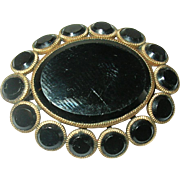 Vintage Brooch Gold Filled Black Glass