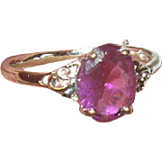 Vintage Ring Sterling Faux Amethyst