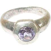 Vintage Ring Sterling Amethyst Modernist Design
