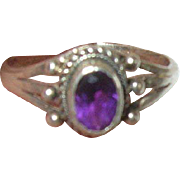 Vintage Ring Sterling Raised Design Oval Amethyst