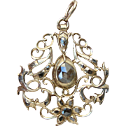 Georgian 14K Rose Cut Diamond Pendant Open Work