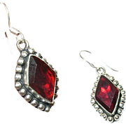 Vintage Earrings Sterling Red Glass Drops