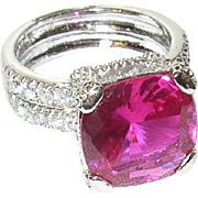 Vintage Ring Sterling Faux Diamond Faux Ruby