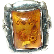 Vintage Ring Sterling Amber Modernist Design