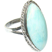 Vintage Ring Sterling Blue White Stone