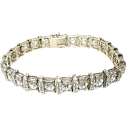 Vintage Link Bracelet Sterling Vermeil Faux Diamonds