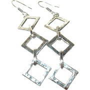 Vintage Drop Earrings Sterling Modernist Design