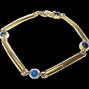 Vintage Link Bracelet Faux Sapphires Gold Filled