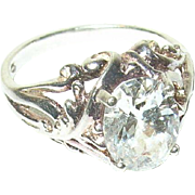 Vintage Ring Sterling Faux Diamond