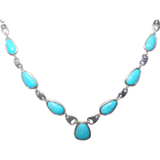 Vintage Necklace Sterling Turquoise Links by W.K.