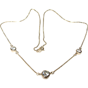 Vintage Sterling Vermeil Necklace Faux Diamonds