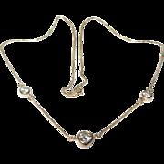 Vintage Sterling Vermeil Necklace Faux Diamonds