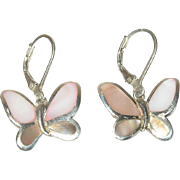 Vintage Earrings Sterling Butterflies Mother-of-Pearl