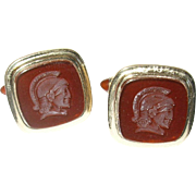 Vintage Gold Filled Cuff Links Carnelian Intaglio