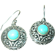 Vintage Drop Earrings Sterling Turquoise Open Work
