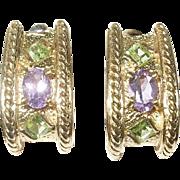 Vintage Earrings Sterling Vermeil Amethyst Green Peridot