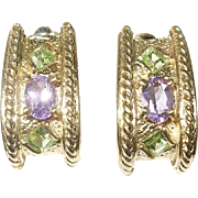 Vintage Earrings Sterling Vermeil Amethyst Green Peridot