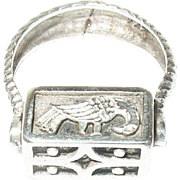 Vintage Ring Sterling Signant Panel Turns