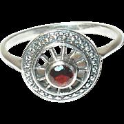 Vintage Sterling Ring Open work Garnet