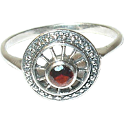Vintage Sterling Ring Open work Garnet