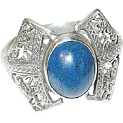 Vintage Ring Sterling Blue Lapis Open Work