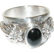 Vintage Ring Cigar Band Sterling Black Onyx