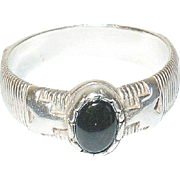 Vintage Ring Sterling Onyx Hallmarked