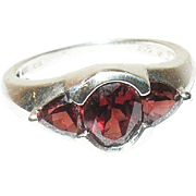 Vintage Ring Sterling Garnets Modernist Design