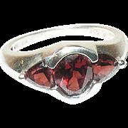 Vintage Ring Sterling Garnets Modernist Design