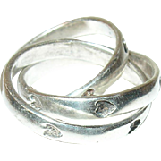 Vintage Ring Sterling 3 Interlocking Bands